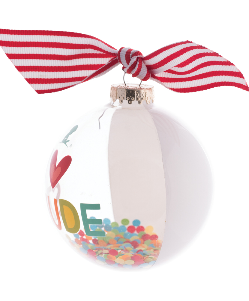 "Clear Glass 4"" Confetti Ornament"