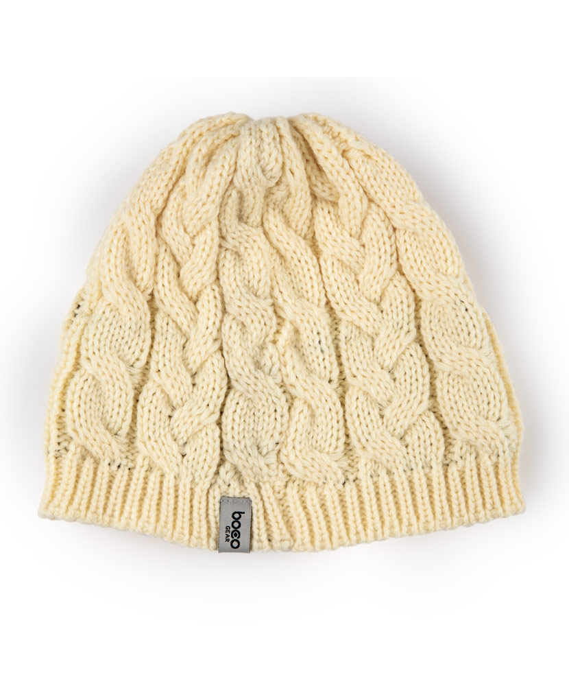 Cable Knit Cream Beanie