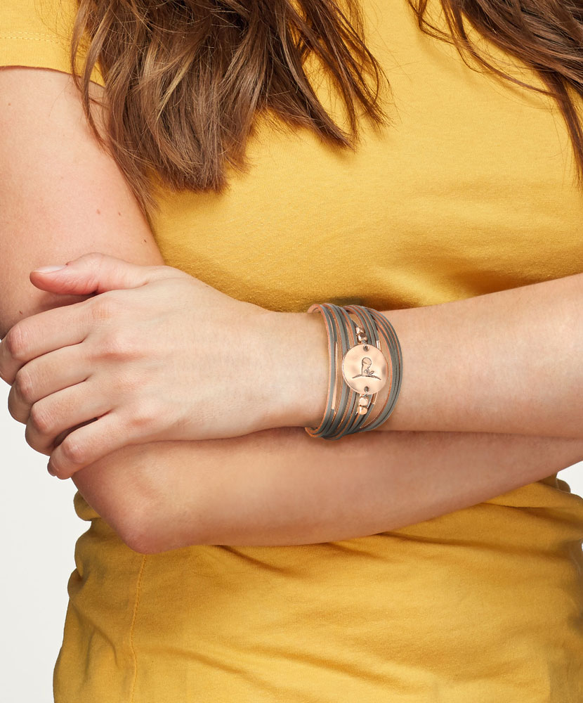 Leather Multi-Strand Logo Disc Bracelet