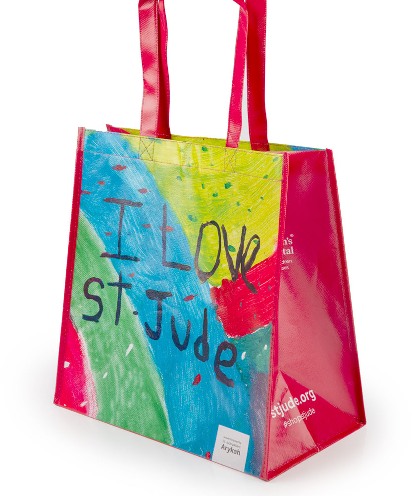 Patient Art I Love St. Jude Paint Splatter Reusable Bag