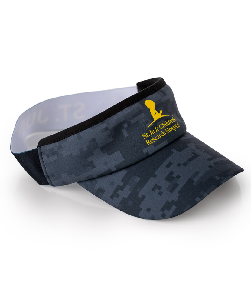 St. Jude Black Digital Camouflage Wicking Visor