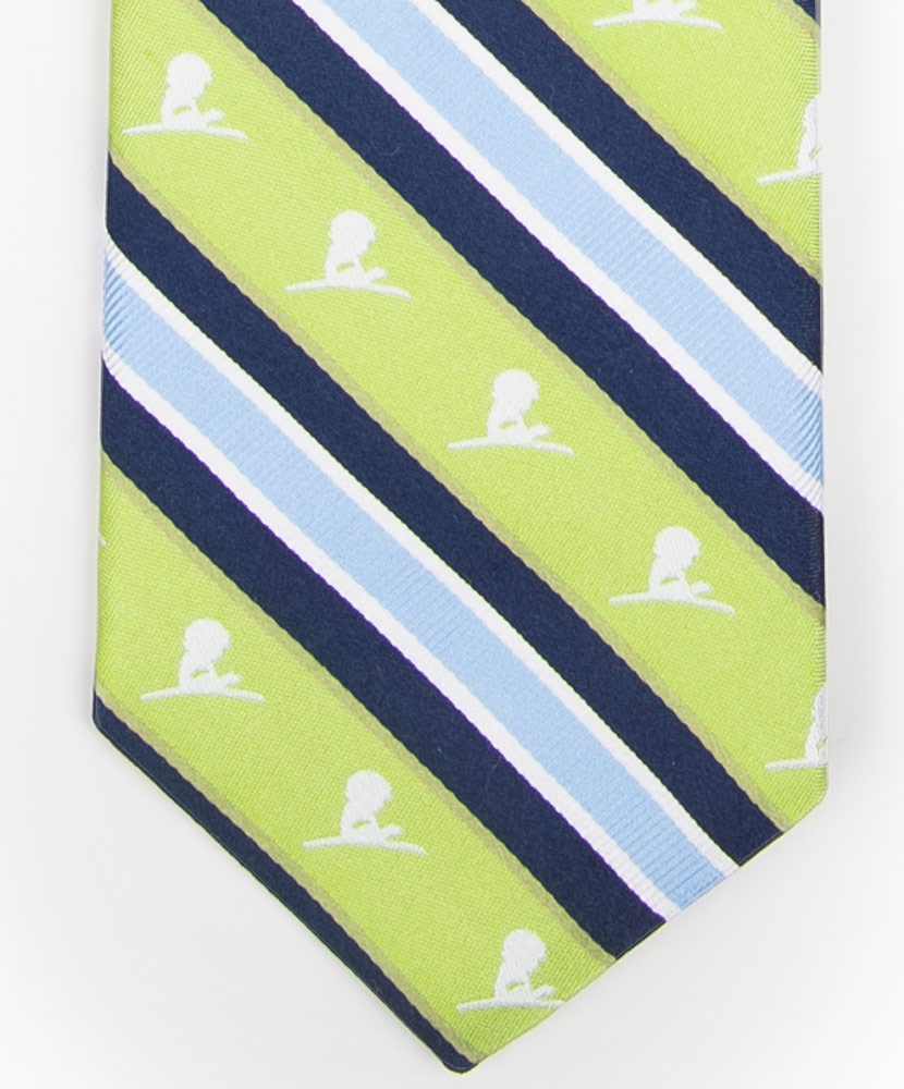 Lime Green and Blue Diagonal Stripe Tie
