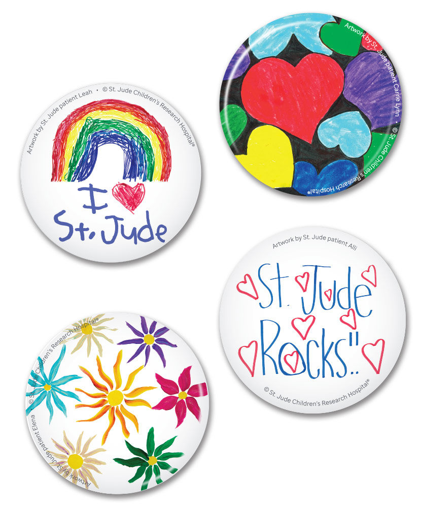 St. Jude Patient Art Buttons- Set of 4